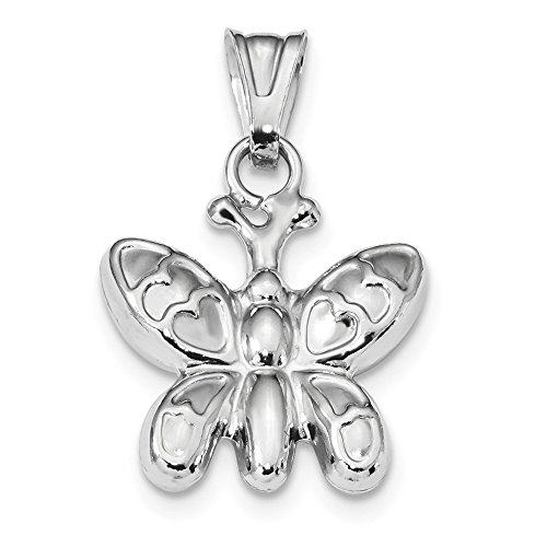 - Jewelry Best Seller Sterling Silver Rhodium Plated Polished Puffed Butterfly Charm