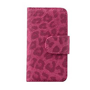Piaopiao Leopard Print Full Body Case with Card Slot and Stand Cover for iPhone 5/5S , Rose