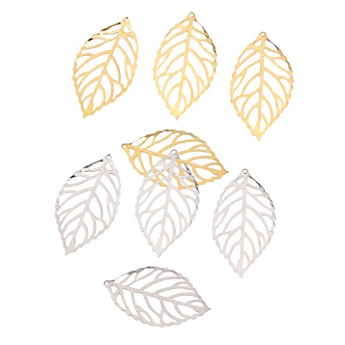 Baoblaze 200 Pieces Alloy Filigree Leaves Charms Pendant DIY Chinese Hairpin Jewelry Making Findings for DIY Necklace Bracelet Craft Clothing Bag Decoration