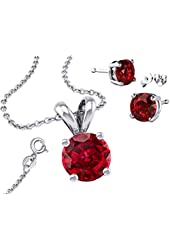 "925 Sterling Silver Synthetic BirthStone Colors 2.00 Carat Total Earrings, Round Pendant 18"" Chain"