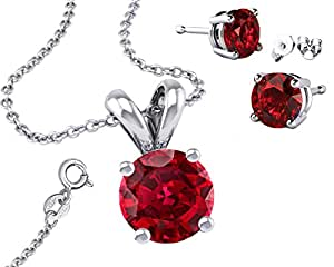 """It's Sterling Silver 925 Synthetic Garnet CZ 2.00ct Round Necklace with Pendant and 18"""" Rolo Chain"""