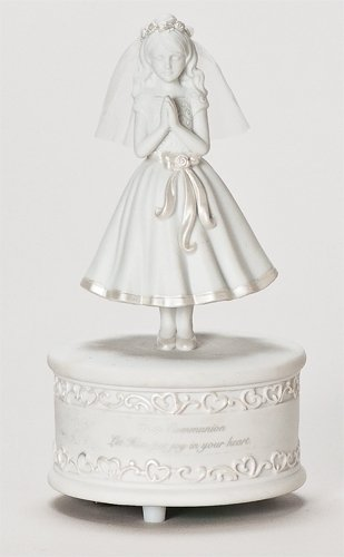 First Communion Girl 7.5 Inch Porcelain Musical Figurine Plays The Lord's Prayer