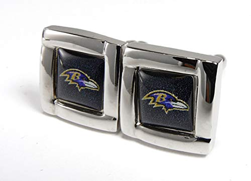 aminco NFL Baltimore Ravens Womens NFL Sports Team Logo Square Cufflinks with Gift Box Set, Silver, One Size ()