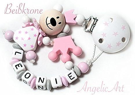Cadena para chupete bebé con nombre personalizado – Niña – Color Rosa Pastel silicona corona: Amazon.es: Bebé