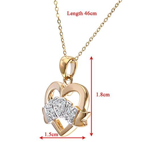Revoni Bague en or jaune 9carats Diamant Collier Maman, longueur 46cm