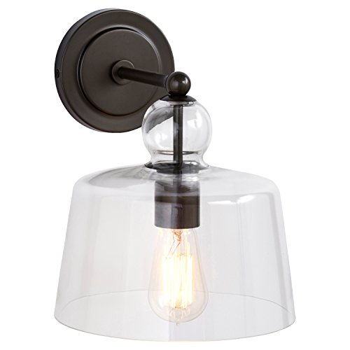 Stone & Beam Modern Black Metal Sconce, With Bulb, Glass - Farmhouse Stone