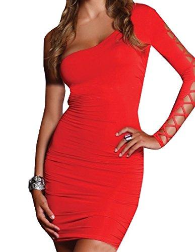 Dalla Matita Vestito Sexy Del Fissa Maniche Rossa donne Partito Spalla Fuori Una A Coolred Lunghe wPZx7vqf