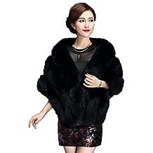 Yxjdress Women' Warm Winter Faux Fur Shawl Wrap Stole Cape Jacket Coat (One size, Black)