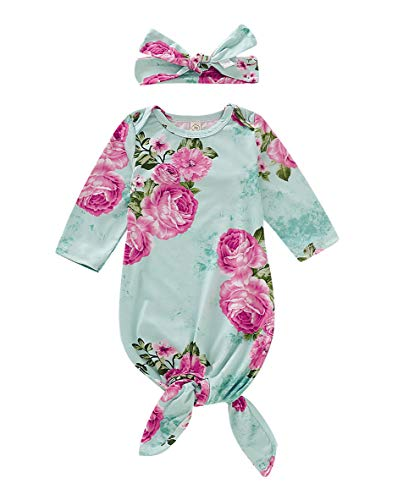 Newborn Baby Girl Floral Gown Coming Home Outfit Baby Girl Gift (Green(Floral), 0-6 Months)