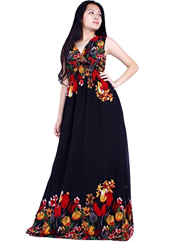 MayriDress Women Black Summer Dress Maxi Plus Size Graduation Chiffon Gift Long (1X, Black/ Red Floral)