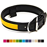 Logical Leather Premium Leather Dog Collar - Best Full Grain Heavy Duty Genuine Leather Collar (Yellow, Large)