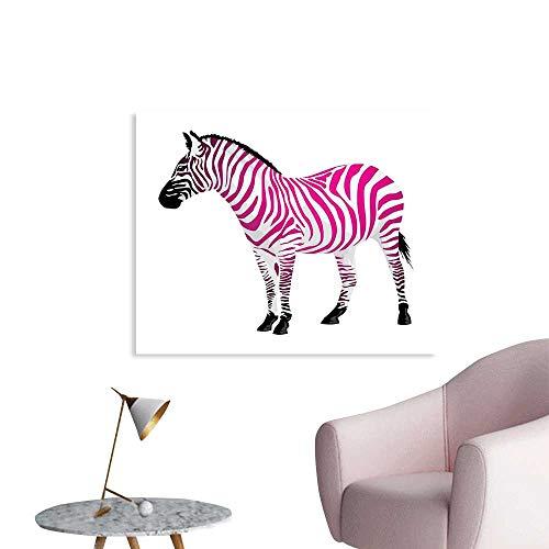 J Chief Sky Pink Zebra Wallpaper Sticker Zebra Figure in Pink Stripes Savannah Animal Wilderness Symbol Safari Print Personalized Wall Decals W28 xL20