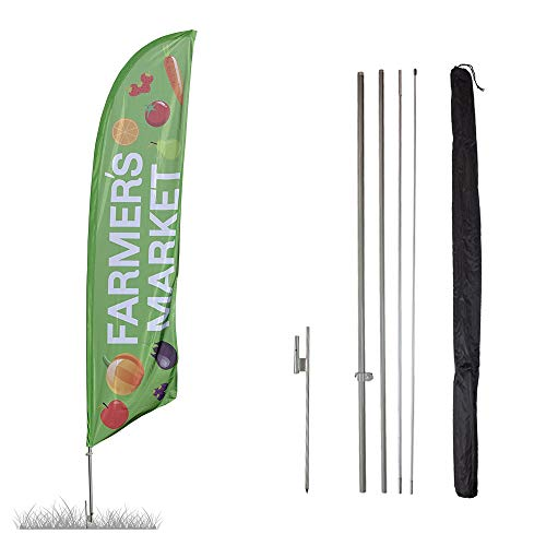 Vispronet - Farmer's Market Feather Flag Kit - 13.5ft Knitted Polyester Swooper Flag with Pole Set and Ground Spike - Printed in The USA