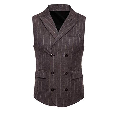 Coat Suit Men Striped Button TOPS Vest Sleeveless Printed Jacket DAYSEVENTH Blouse Clearance Plaid coffee 2 British MEN Casual PCOw1wU