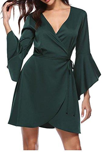Belt Midi Green Flared Womens Neck V Dresses Bandage Cruiize Sleeve Classic wRBgaqxWUA