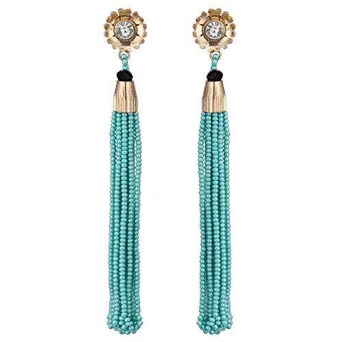 (Turquoise and Rose Gold Preciosa Seed Bead Fringe Trendy Fine Handmade Studded Earring for Women.)