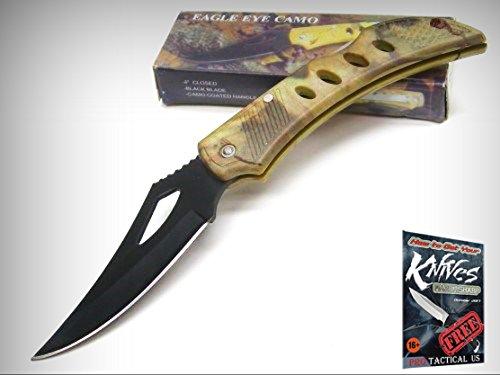 (CAMO Handle EAGLE EYE Straight Folder Folding LOCKBACK Pocket Knife 210875 New! + free eBook by ProTactical'US)