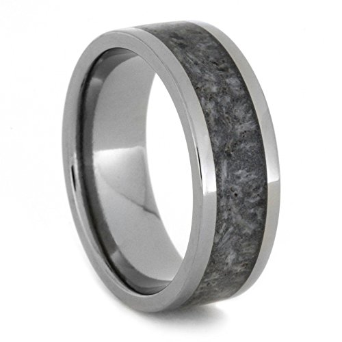 Deer Antler Inlay, Light Tone Titanium 8mm Comfort-Fit Ring, Size 14.5 by The Men's Jewelry Store (Unisex Jewelry)