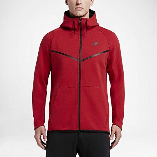 Nike Mens Sportswear Tech Fleece Windrunner Hooded Sweatshirt University Red/Black 805144-654 Size X-Large (Hoodie Red)