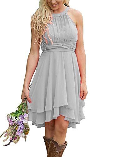 Erosebridal Short Bridesmaid Dresses Chiffon Halter Prom Dress Country Wedding Dress Light Gray 16