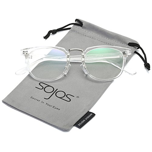 SojoS Square Reading Glasses Optical Frame Clear Lens Eyewear Eyeglasses for Men and Women SJ6005 With Transparent - Interchangeable Frames Lenses Eyeglass With