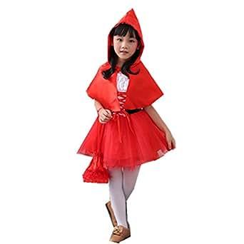 MV New Halloween Girls Little Red Clothes Children Princess Dress Costumes Cloak