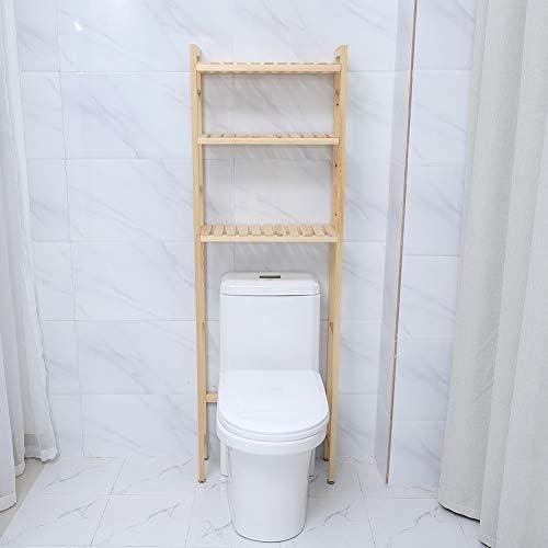 Zoternen - Estantería para cuarto de baño de madera, mueble de almacenaje superior para inodoro con 3 estantes