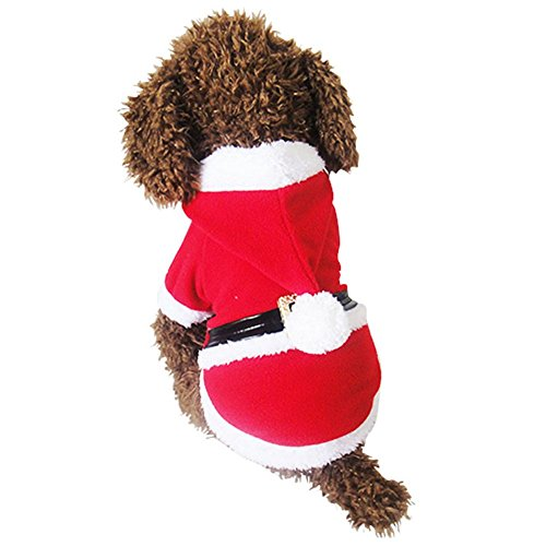 NACOCO Pet Christmas Costumes Dog Santa Suit Dog Warm Hoodies Puppy Cat Apparel Winter (X-Small)