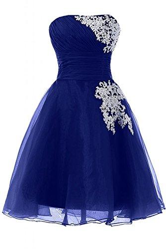 Kleid Kurz Organza CoutureBridal® Saphir Abendkleid Trägerloses Blau Cocktailkleider Damen 4dx5Pwfq