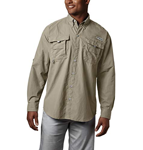 Columbia Men's PFG Bahama II Long Sleeve Shirt , Fossil, Large