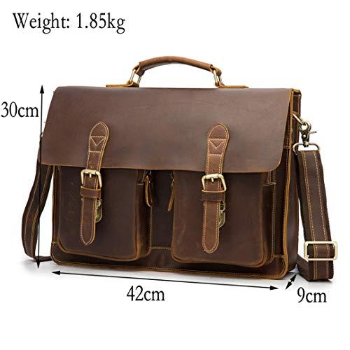 (Top Grade Men's Vintage Crazy Horse Leather Briefcase Messenger Shoulder Portfolio Laptop Bag Case Office Handbag)