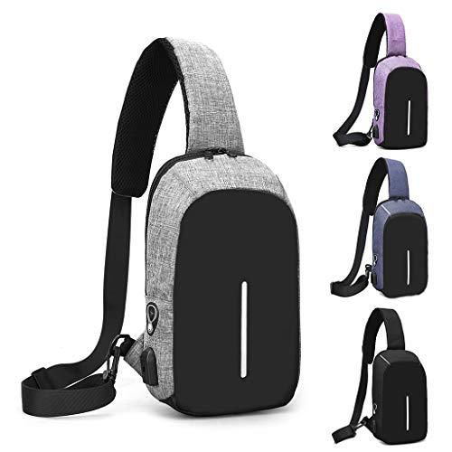 Sac Senoow Purple Sac Sling Sport USB Messenger à à à Bandoulière Bandoulière Homme Bandoulière pour Travel 8ggrZx