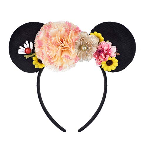 A Miaow Flower Headband Unicorn Headpiece Mickey Mouse Ears Costume Minnie Hair Hoop Halloween Part (Hydrangea -