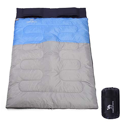 CAMEL CROWN Lightweight Double Sleeping Bag with Pillow Great for 2 Person Camping, Hiking, Backpacking and Outdoors