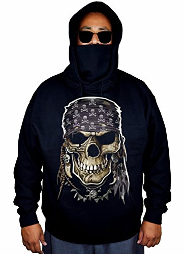 Black Skull Sweater (Men's Pirate Skull Black Mask Hoodie Sweater Large Black)
