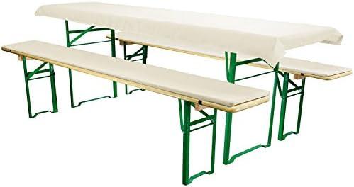 Heimtex Direkt Bierbankauflagen Set 3teilig Comfort XS für 70cm Tische Weiß