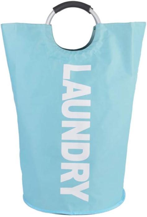 suoye 82L Large Laundry Basket (6 Colors), Collapsible Fabric Laundry Hamper, Foldable Clothes Bag, Folding Washing Bin (Light Blue)