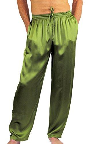 NYTEEZ Men's Silk Pajama Bottoms Lounge Pants (Small, Olive)