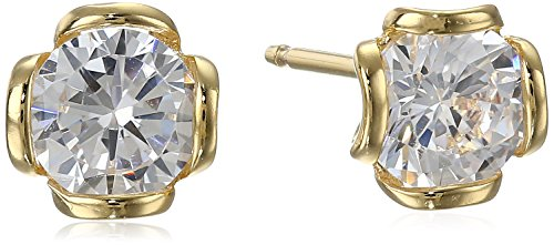 18k Yellow Gold Plated Sterling Silver Cubic Zirconia Round Stud Earrings (1.12 cttw) (Earrings Round Band)