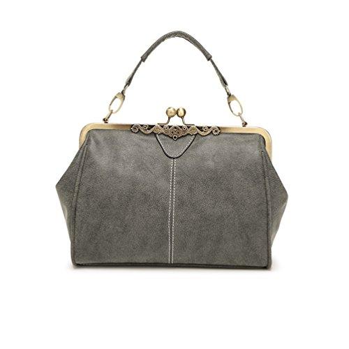 Lemontrip Ladies Designer Cross Over Shoulder Bags Purse Retro Handbags for Women - Grey