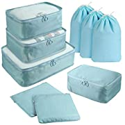 9 PCS Packing Cubes for Suitcase Travel Organiser Bags Set Lightweight Holiday Essentials Packing Bag with Large…