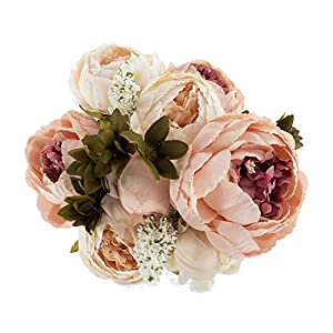 EZFLOWERY 1 Pack Artificial Peony Silk Flowers Arrangement Bouquet for Wedding Centerpiece Room Party Home Decoration, Elegant Vintage, Perfect for Spring, Summer and Occasions (1, Peach) 3