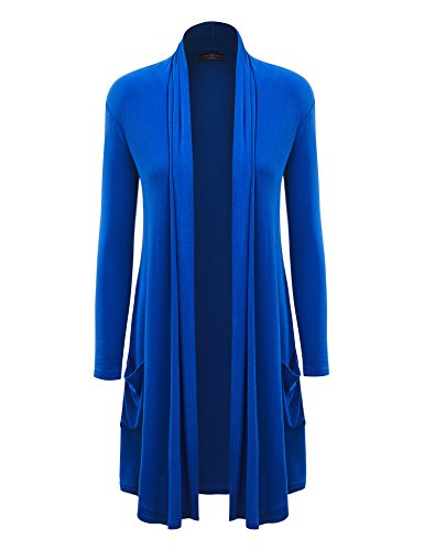 MBJ Womens Solid Long Cardigan with Pockets XXXL ROYAL_BRITE