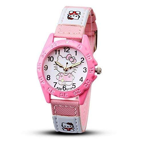 - AAIND 2018 Hello Kitty Cartoon Watches Kid Girls Leather Straps Wristwatch Children Hellokitty Quartz Watch Cute Clock Montre Enfant,8 Years (Pink Colour)
