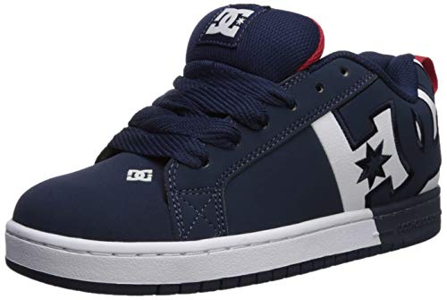 DC Men's Court Graffik SQ Skate Shoe, Navy/red, 10 D M US