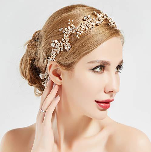 BABEYOND Crystal Wedding Headpiece Hair Vine Bridal Headband Bridesmaid Hairband Crystal Floral Leaf Forehead Band with Lace Ribbon Gold