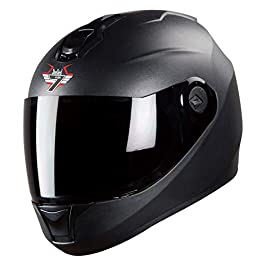 Steelbird SBH-11 7Wings Full Face Helmet (Medium 580 MM, Dashing Black Helmet Fitted with Clear Visor and Extra Smoke…