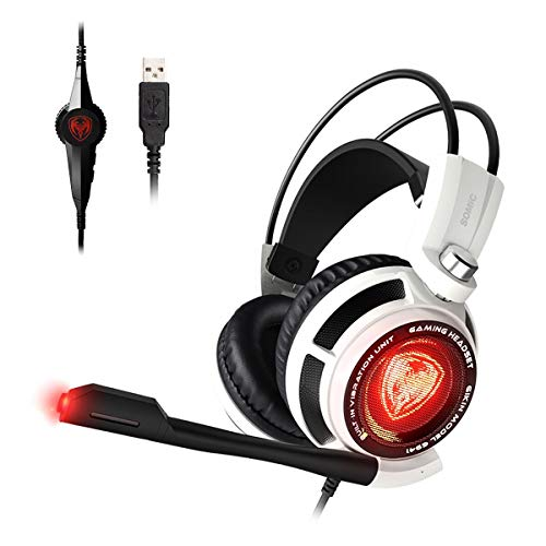 SOMIC G941 Gaming Headset for PS4, PC and Lapto: 7.1 Virtual Surround Sound with Omnidirectional Mic & Volume Control | LED, USB, Lightweight & Comfortable Over Ear Headphones for Professional Gamers (Best Selling Gaming Headset)