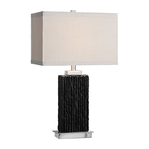 (Carved Black Slate Stone Slab Table Lamp | Natural Ribbed Rustic Lodge)