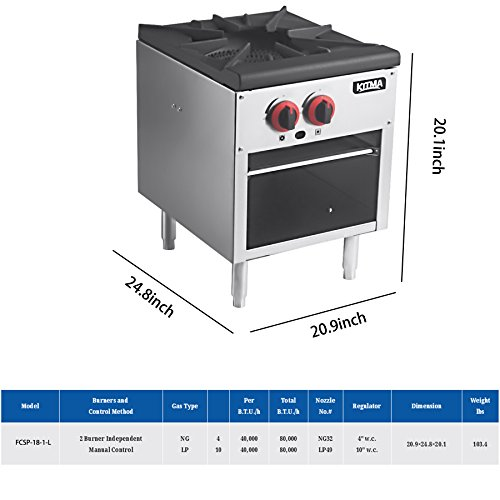 18 Inches Single Stock Pot Stove - KITMA Natural Gas Countertop Stock Pot Range with 2 Manual Controls - Restaurant Equipment for Soups